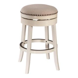 White Upholstered Swivel Barstools