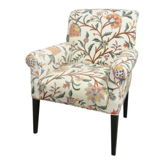 Modern Crewelwork Upholstered Lounge Chair For Sale