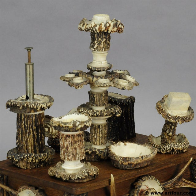 Black Forest An Elaborate Handmade Black Forest Style Smoking Set Ca. 1900 For Sale - Image 3 of 8
