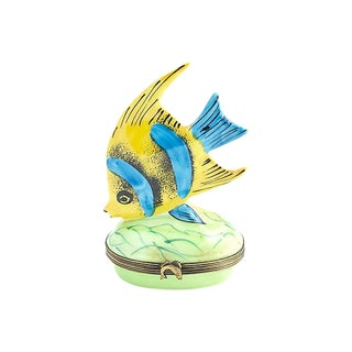 20th Century Figurative Limoges Angel Fish Trinket Box For Sale