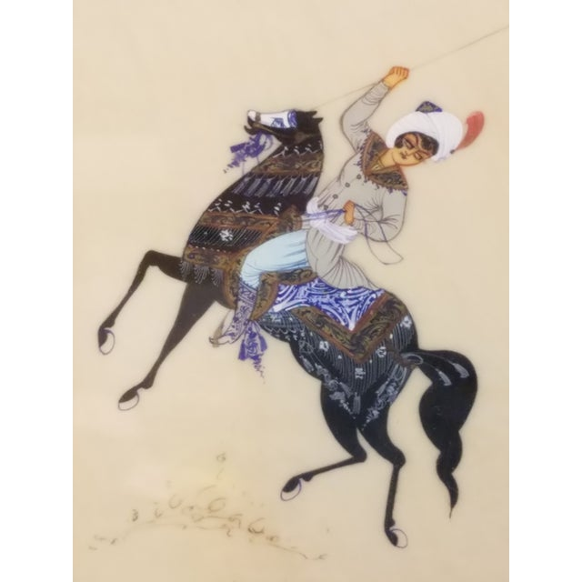 Story Paintings, Lebanese Antique Hunt Painting on Silk For Sale - Image 4 of 8
