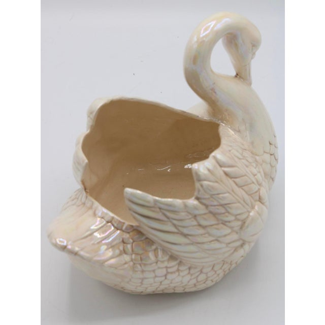 Cream Lusterware Swan Cachepot Planter For Sale - Image 10 of 13