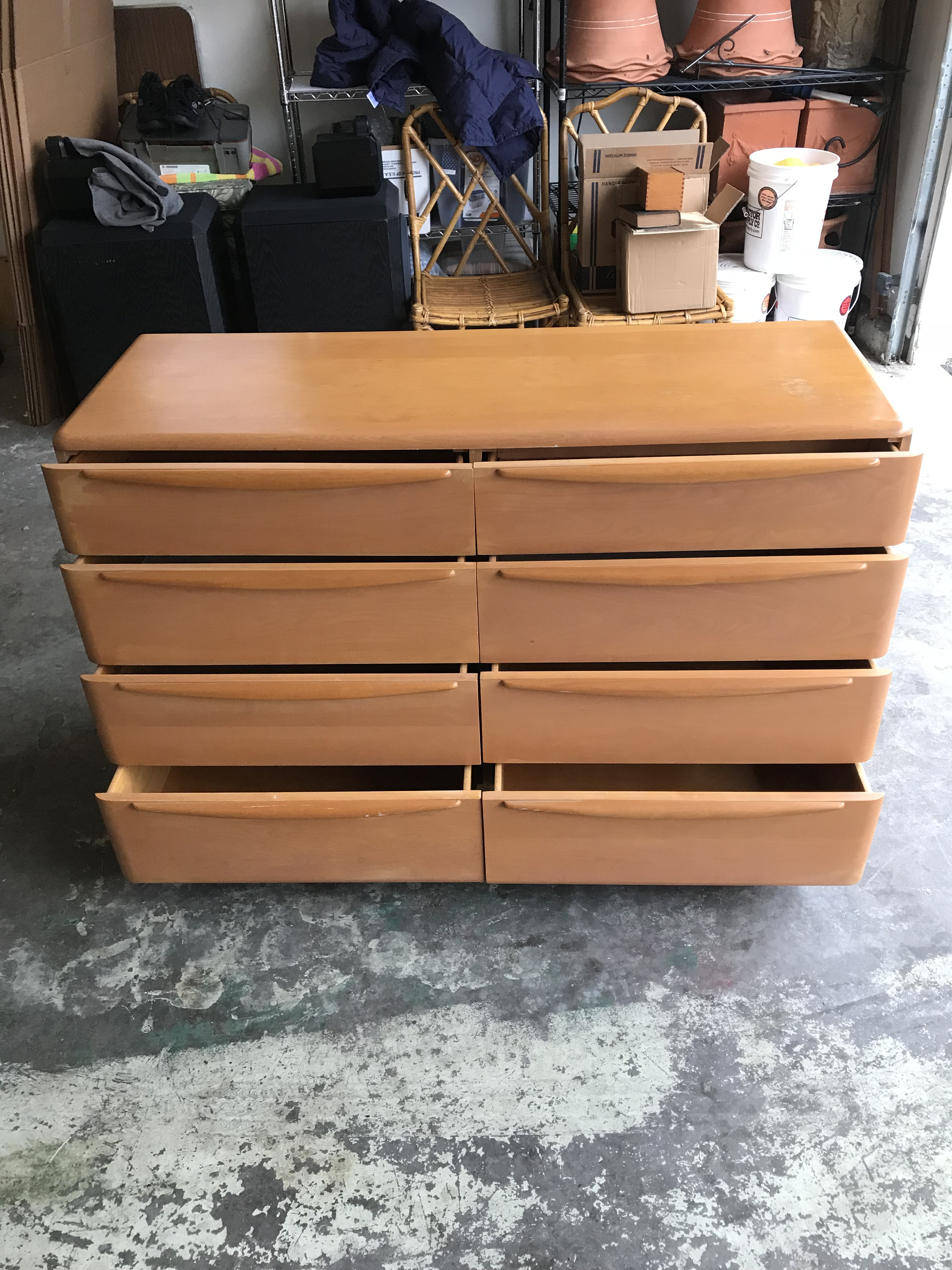 Circa 1952 Mid Century Modern Heywood Wakefield 8 Drawer Dresser With Mirror