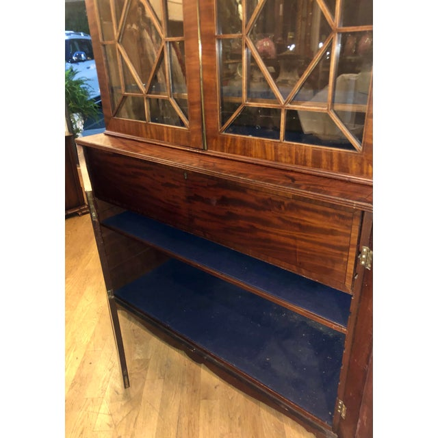 Early 19c Antique English Regency Mahogany Secretary Bookcase For Sale - Image 11 of 12
