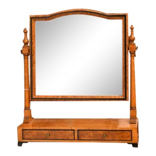 Federal-Style Birds-Eye Maple 2 Drawer Shaving Mirror For Sale