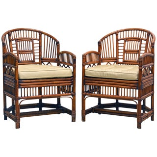 Vintage Brighton Pavilion Style Chinoiserie Chippendale Bamboo Armchairs - a Pair