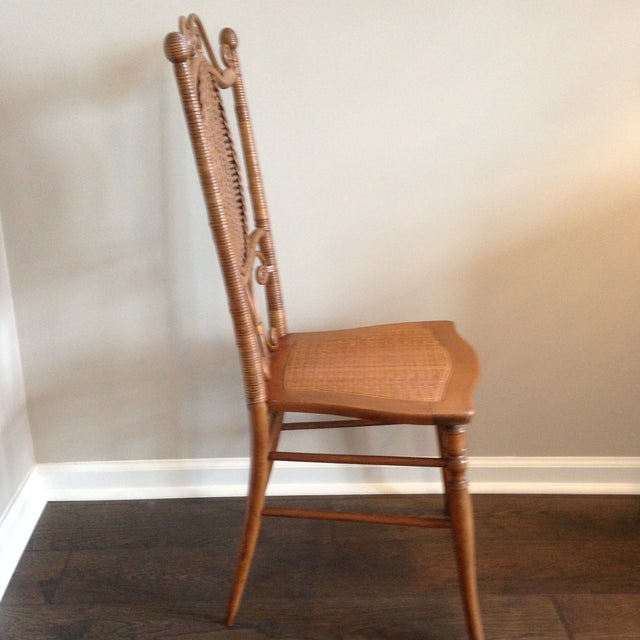 American Classical Heywood Brothers Wakefield Antique Victorian Wicker and Cane Chair For Sale - Image 3 of 9
