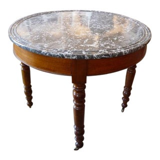 19th Century Walnut Table with Marble Top