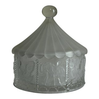 Goebel Large Lead Crystal Carousel Merry Go Round Circus Tent Lidded Glass Dish For Sale