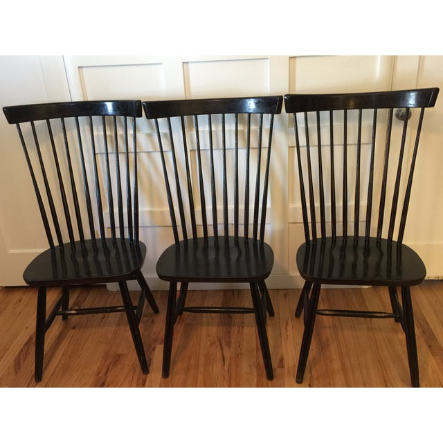 Edmund Spence Style Ebony High Comb Spindle Windsor Chairs - Set of 3 For Sale - Image 12 of 13