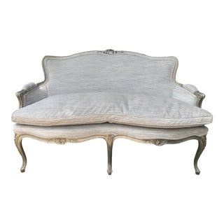 Silver Leaf French Settee For Sale