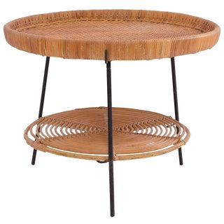 1950s Mid-Century Modern Raymor Wicker Rattan and Iron Occasional Table For Sale