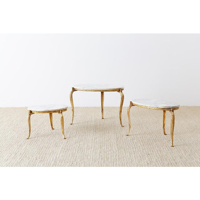 Hollywood Regency Nest of Italian Doré Bronze and Marble Drink Tables For Sale - Image 3 of 13