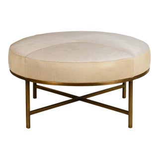 Small White Hide and Patinated Brass 'Tambour' Ottoman by Design Frères For Sale