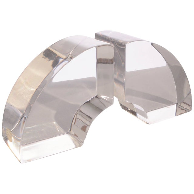 Vintage Modern Astrolite Products Lucite Arched Bookends For Sale - Image 9 of 9