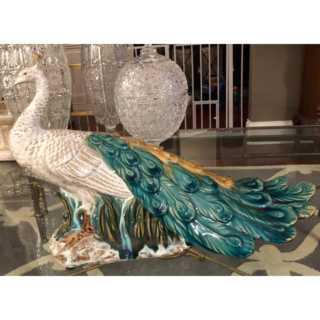 2000 - 2009 Chinoiserie Porcelain Peacock Figurine For Sale - Image 5 of 8