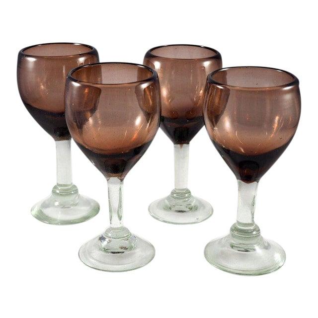 Contemporary Mauve Wine Glasses - Set of 4 For Sale