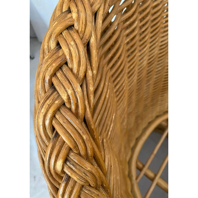 Brown Vintage Woven Wicker Chairs With Braided Trim - a Pair For Sale - Image 8 of 13