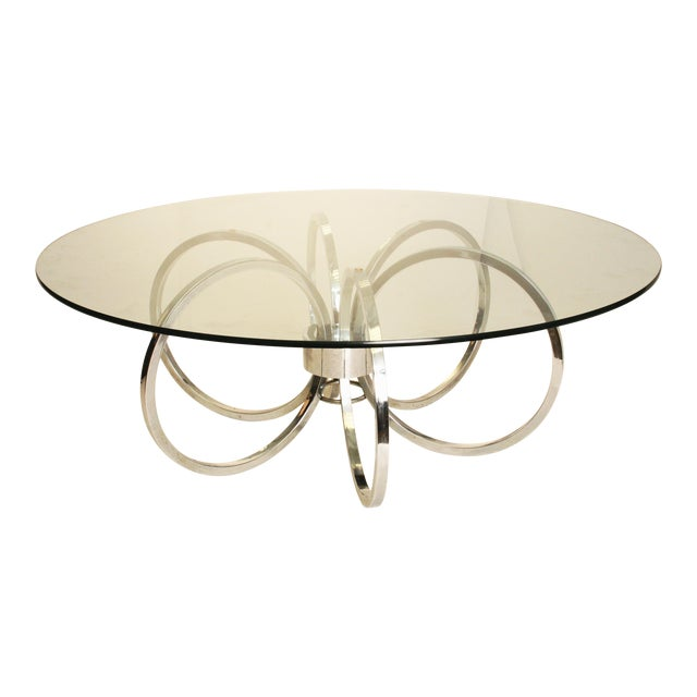 """Mid Century Chrome And Glass Coffee Table: Mid-Century Modern Chrome & Glass """"Rings"""" Coffee Table"""