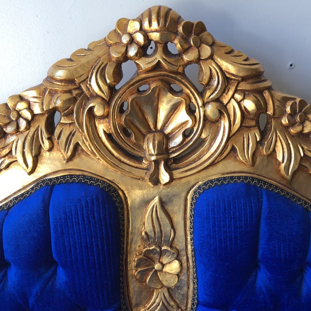Textile Rococo Gilded Blue Tufted Sofa For Sale - Image 7 of 8