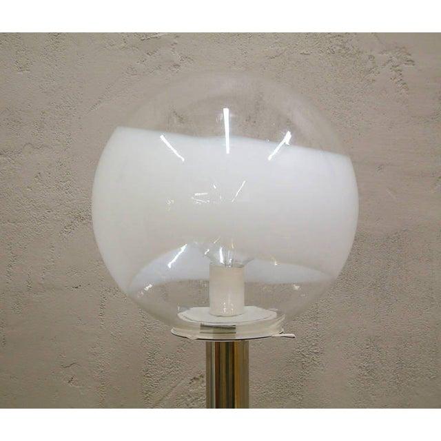 Chrome 1960s Mazzega Style Tubular Chrome and Murano Glass Floor Lamp For Sale - Image 7 of 9