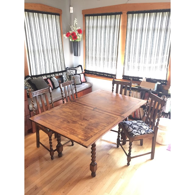 Barley Leg Solid Oak Table & Chairs - Image 3 of 5