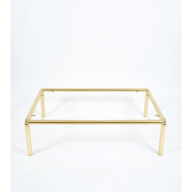 Large Italian Coffee Table in Brass and Glass For Sale - Image 6 of 6