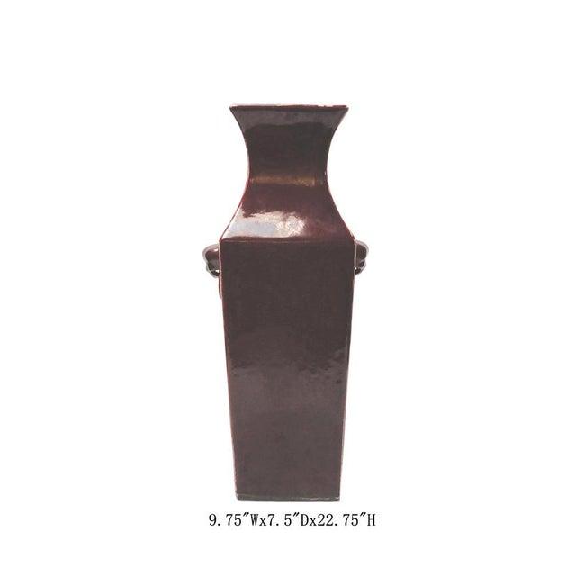 Chinese Dark Red Glaze Porcelain Foo Dog Head Vase - Image 2 of 7