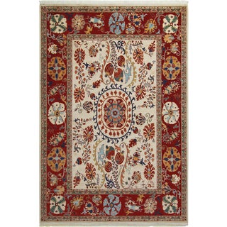 Kurjean Garish Herman Ivory/Red & Wool Rug 6'9 X 9'10 A8283 For Sale