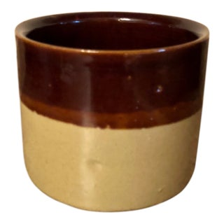 Final Price! Mid-Century Vintage Brown Two-Tone Crock For Sale