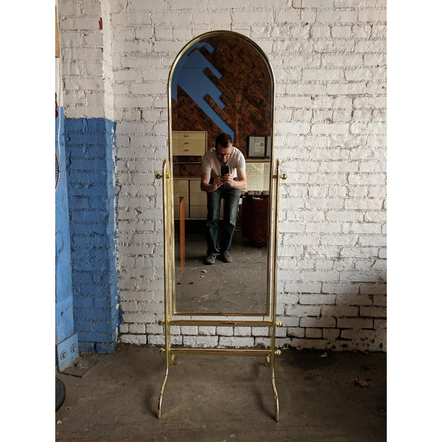 Vintage Shiny Brass Dressing Mirror For Sale - Image 4 of 6