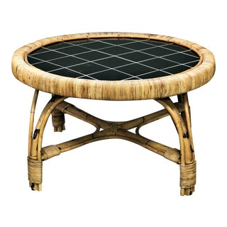 Round French Rattan and Tortoise Bamboo Coffee Table with Tile Top, circa 1950