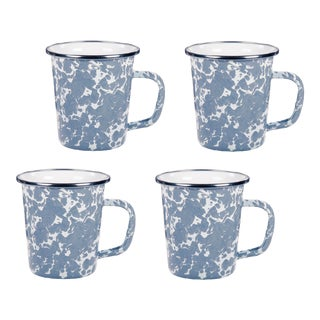 Latte Mugs Grey Swirl - Set of 4 For Sale