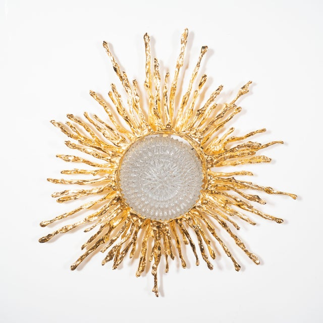 This stunning and dramatic flush mount chandelier was handcrafted by the esteemed artist Claude Boeltz in France. It...