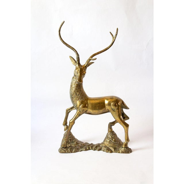 Vintage Mid-Century Statement Brass Stag Sculpture For Sale - Image 11 of 11