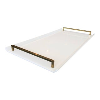 Serving Tray in White Lucite and Brass by Charles Hollis Jones For Sale