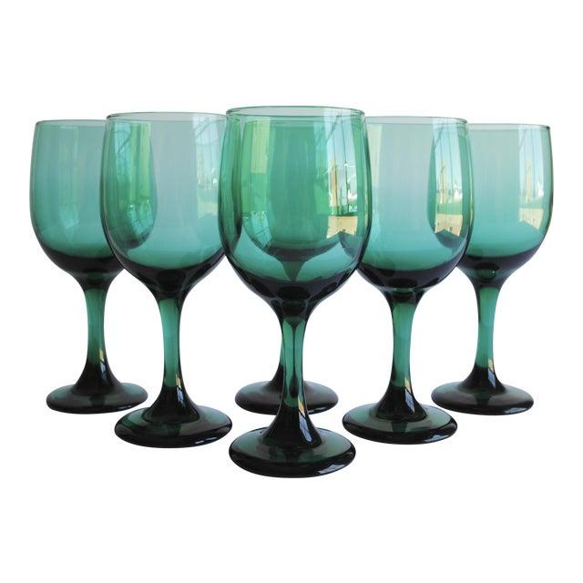 Dark Green Wine Glasses, Set of 6 For Sale