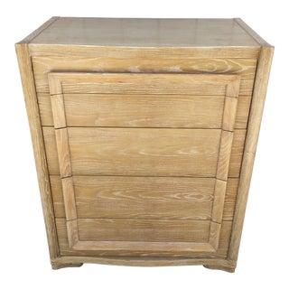 Art Deco Scultupral Cerused Ash High Boy Dresser For Sale