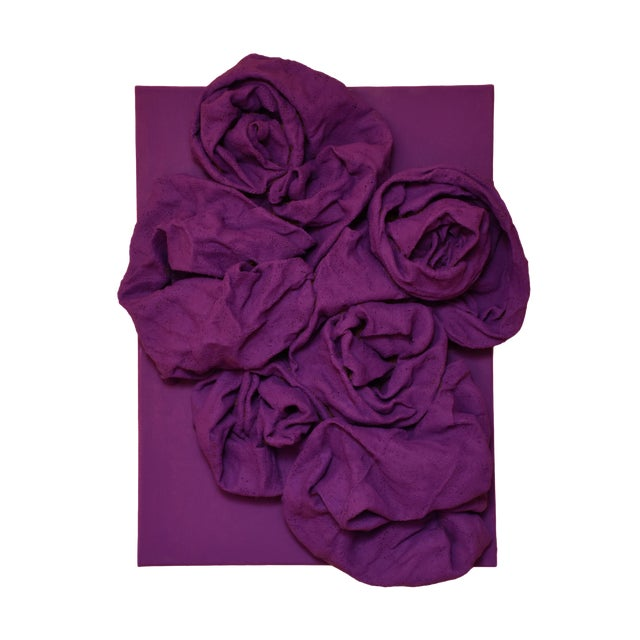 """""""Violet Folds"""" Mixed Media Wall Sculpture by Chloe Hedden For Sale"""