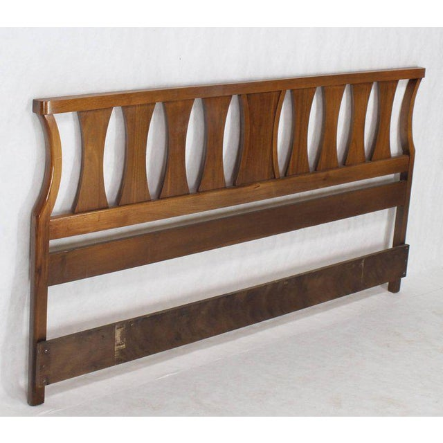 Lacquer King-Size Mid-Century Modern Walnut Headboard Bed For Sale - Image 7 of 7