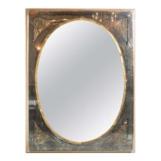 Elegant Mid-Centuy Modernist Eglomise and Smoked Bordered Mirror For Sale