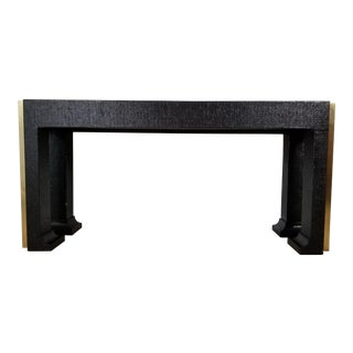 Karl Springer Style Grasscloth and Brass Console Table . For Sale