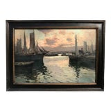 "Image of Vintage Italian Impressionist Oil Painting Naples Italy Harbor at Sunset by G. Mariani 42 X 30"" For Sale"