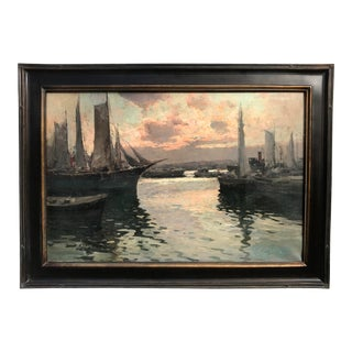 """Vintage Italian Impressionist Oil Painting Naples Italy Harbor at Sunset by G. Mariani 42 X 30"""" For Sale"""