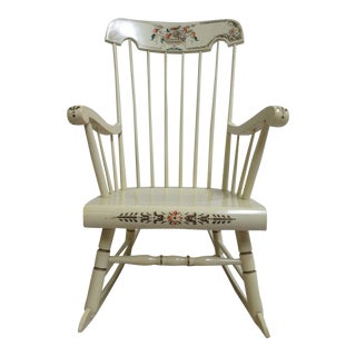 Bent Brothers White Hitchcock Painted Rocking Chair For Sale
