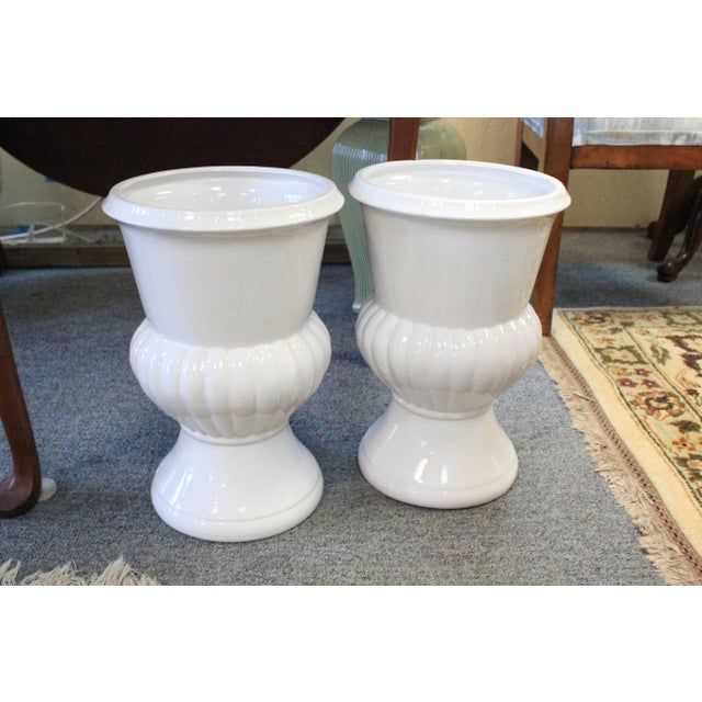 Neoclassical Style White Urns - a Pair For Sale In New York - Image 6 of 6