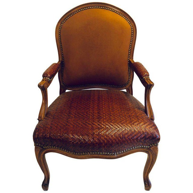Brown Suede and Tweed Leather Bergère Arm or Office Desk Chair Brunschwig & Fils For Sale - Image 11 of 11