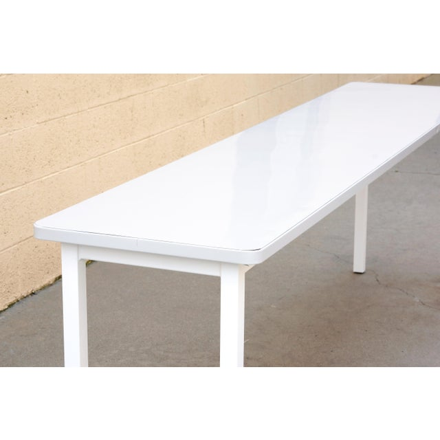 Cole Steel Tanker Inspired Steel Console Table in Gloss White, Custom Made For Sale - Image 4 of 5