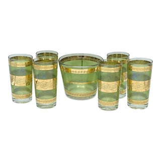 Mid Century Green and 22k Gold Highball With Glass Ice Bucket Cocktail Set- 7 Piece For Sale