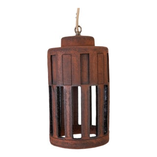 1960s California Studio Pottery Pendant Lamp With Rectangular Impressions For Sale
